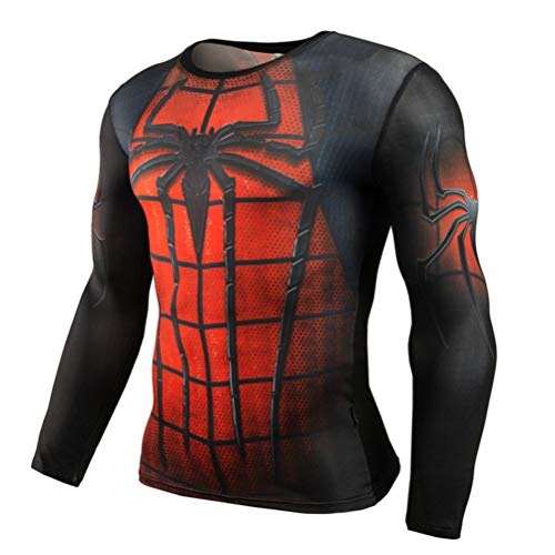 Long Sleeve Spider Man Compression Shirt for Runing Red Costume Shirt -