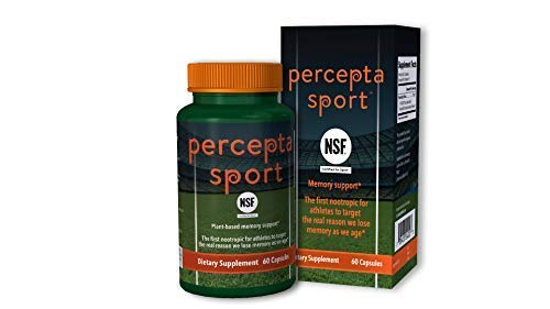 Percepta Sport Brain Supplement for Athletes- All Natural Nootropic for Peak Athletic Performance -Memory, Focus, Clarity - 30 Day Supply - NSF Certified for Sport