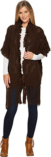 Hooded Fringe (Wrangler Women's Women'S Hooded Fringe Cardigan Dark Brown X-Large)