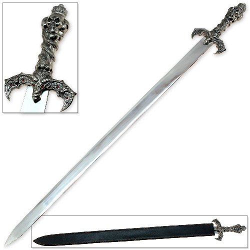 Lord of the Underworld Serpents Satanic Skull King Sword - Mirror Polished Stainless Steel