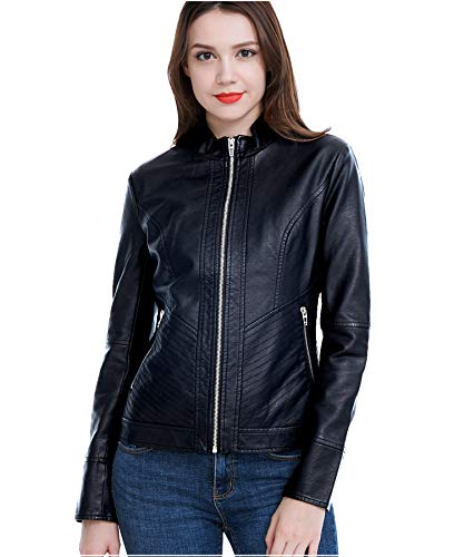 Fasbric Women Faux Leather Wind & Water Proof Biker Jacket Coat Zipper