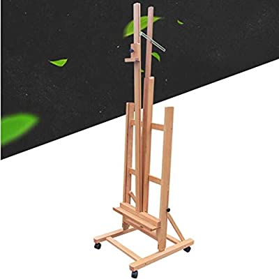 TD-Easels Collapsible Lifting Professional Easel, Enamel Wooden Floor Forward Oil Painting Easel Light