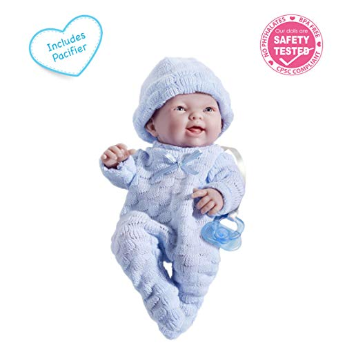 """Mini La Newborn Boutique - Realistic 9.5"""" Anatomically Correct Real Boy Baby Doll dressed in BLUE - All Vinyl Open Mouth Designed by Berenguer"""