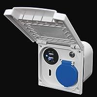 Multifunctioneel buitenstopcontact camper caravan boot 220 V 230 V satellietantenne USB HDMI 12 volt Schuko ruit