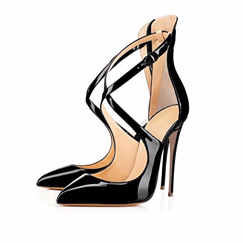 Womens Court black High Strap On Shoes Heels Slip Pointed Patent Pumps Stiletto Toe Ubeauty Cross Classic A d5Twqd