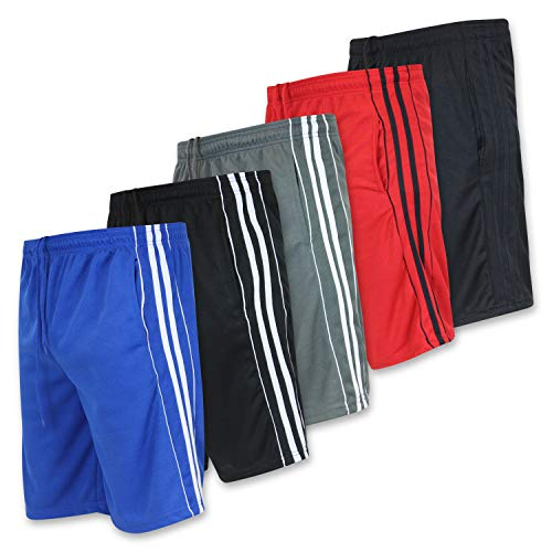 Real Essentials Mens Active Athletic Performance Shorts with Pockets - Set 5-5 Pack, L