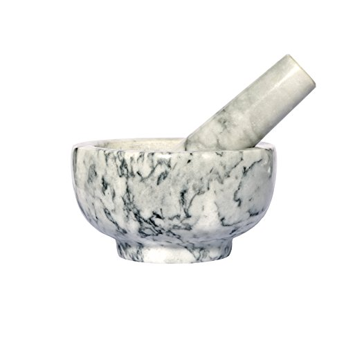 Kota Japan White Marble Mortar & Pestle Natural Stone Grinder for Spices, Seasonings, Pastes, Pestos and Guacamole | Attractive Gift | Stays Cool | Easy Clean up | Fully Guaranteed