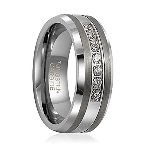 8mm Tungsten Ring Unisex Wedding Band Polished Beveled Edge Cz Stone Channel Set (10.5)
