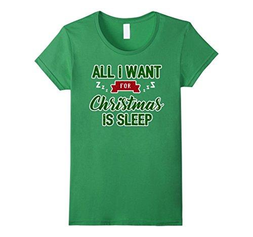 Womens All I Want For Christmas Is Sleep Pajama Shirt Sma...