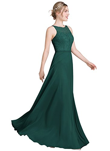 Loffy Women's Long Prom Dress Bridesmaid Dress Lace Chiffon Evening Gown Dark Green Size (Chiffon Lace Evening Gown)