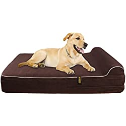 KOPEKS - Orthopedic Memory Foam Dog Bed With Pillow and Waterproof Liner & Anti-Slip Bottom - JUMBO XL Size - Brown