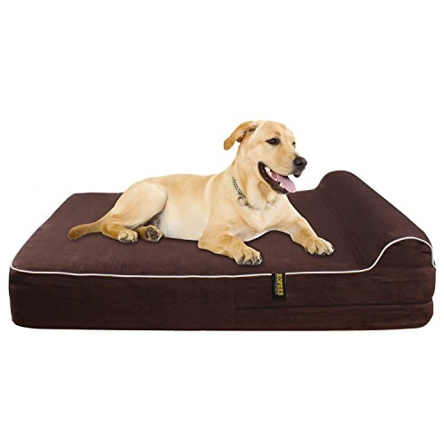KOPEKS Orthopedic Memory Foam Dog Bed With Pillow and Waterproof Liner & Anti-Slip Bottom - JUMBO XL Size - Brown (Bed Orthopedic Waterproof)