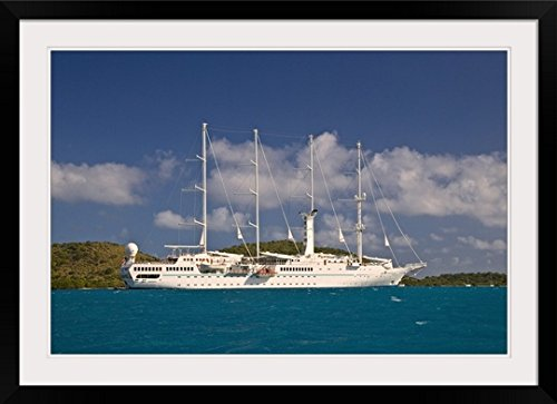 """GreatBIGCanvas """"A Look at A Yacht at The Bitter End Yacht Club, Virgin Gorda British Virgin Islands"""" by Joe Restuccia III True to life Print with Black Frame, 36"""" x 24"""""""
