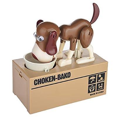 JAWM My Dog Piggy Bank, Robotic Coin Munching Toy Money Box Saving Money Coin Bank (Dark Brown Dog): Toys & Games
