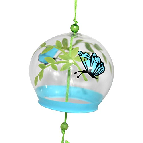 Japanese Wind Chimes Handmade Glass Furin Home Decor Birthday Wedding Valentine's Day Mother's Day Father's Day Gift (Butterfly on Leaves) For Sale