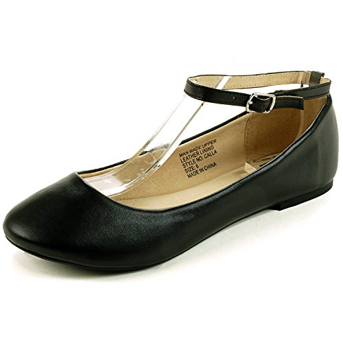 Ankle Strap Leather Mary Janes - alpine swiss Women's Black Suede Lined Calla Ankle Strap Ballet Flats 9 M US