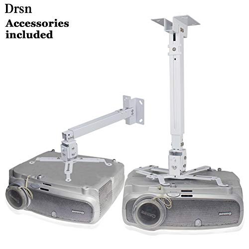 Universal Projector Ceiling Mount, Drsn Adjustable Project Wall Mount Extendable Projector Mount White 16-25 inch Thickened Steel for LCD/DLP Ceiling Projector Epson Optoma Benq ViewSonic Arm Lcd Projector Cart