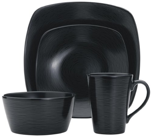 (Noritake 4-Piece Square Black on Black Place Setting, Swirl)