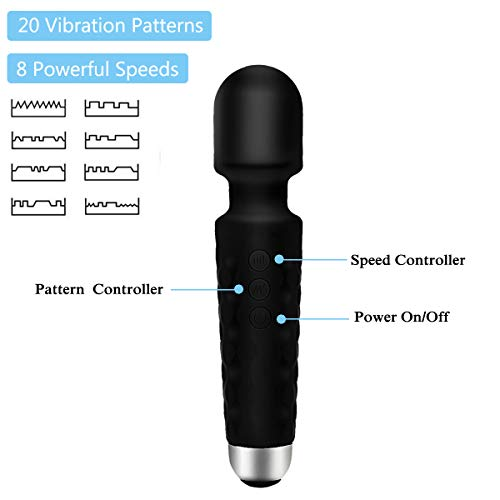 PALOQUETH Rechargeable Wand Massager Electric Full Body Massager, Deep Tissue Massage for Muscles Neck Shoulder Back Leg Foot, Wireless Handheld Magic Massager Great Relax Gift for Women/Men