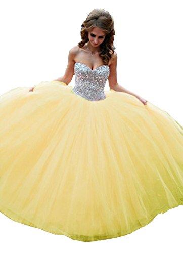 - Meledy Women's Sweetheart Strapless Rhinestone Sweet 16 Ball Gown Quinceanera Dress Yellow US4