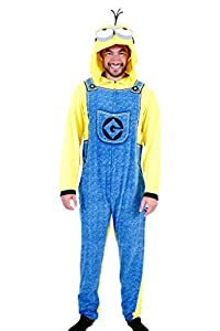 Despicable Me Minion Adult Union Suit Costume Pajama Onesie with Hood