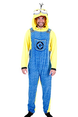 [Despicable Me Minion Adult Union Suit Costume Pajama Onesie with Hood (Adult X-Large)] (Adult Minions Costumes)