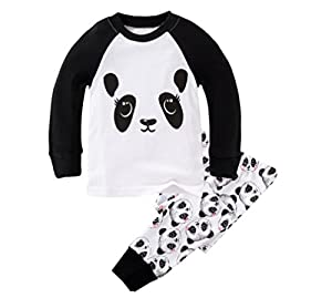 Mammybaby Little Girls Panda Long Sleeved Pajamas Set Cotton DRG7463