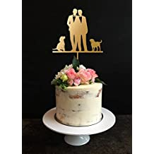 Gay Wedding Cake Toppers, Mr and Mr Cake Topper, Same Sex Cake Topper,Wedding Cake Toppers 2 Grooms with Dog Gold