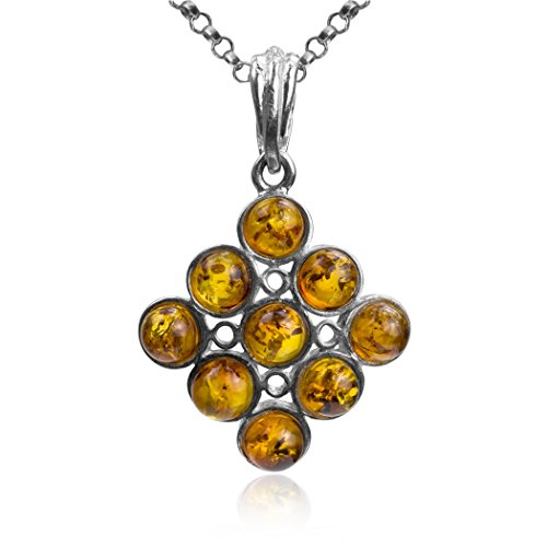 Amber Sterling Silver Round Beads Modern Pendant Necklace Chain 18