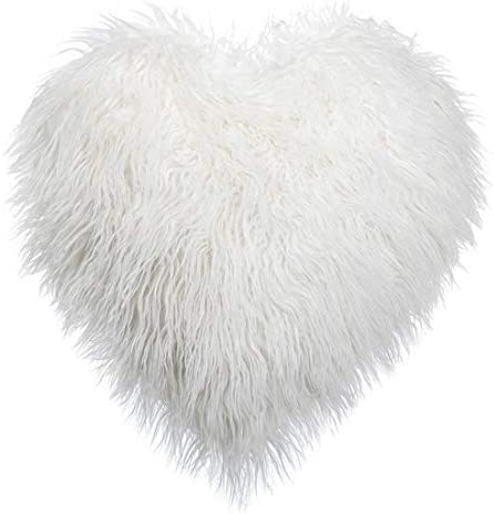 Heart Shaped Deluxe Home Decorative Super Soft Plush Mongolian Faux Fur Throw Pillow Sofa Chair Stuffed Pillow Waist Rest Cushion Stuffed Toy Decor Birthday Gifts Home Bed Decoration