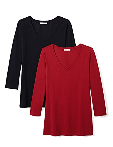 Daily Ritual Women's Stretch Supima 3/4-Sleeve V-Neck T-Shirt, Navy/Deep Red, Medium