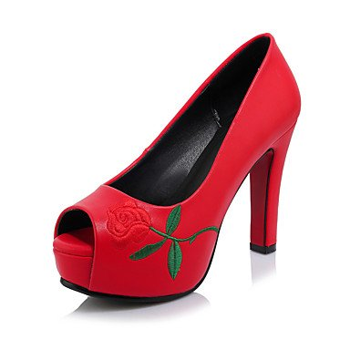 de las mujeres sandalias Primavera Verano Otoño zapatos del club de microfibra Oficina boda y vestido de la carrera tacón grueso Flor Negro Rojo Blanco Black