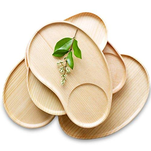 Set of 2 Fancy Wooden Platter Small Serving Tray Kids Plate for Cheese, Salad, Dessert Divided Breakfast Dish ()