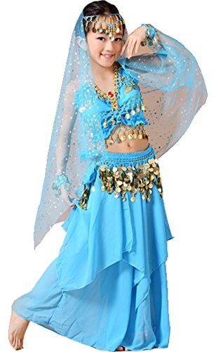 Astage Kids Belly Dance Costume Dress Set Sky Blue Small(Fits 7-8 Years)