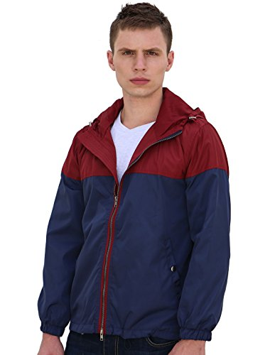 Allegra K Men Color Block Zipper Front