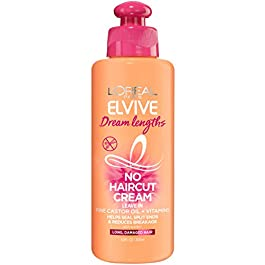 L'Oreal Paris Elvive Dream Lengths No Haircut Cream Leave in Conditioner With Fine Castor Oil & Vitamins B3 & B5 for Long, Damaged Hair, Helps Seal Split Ends & Reduces Breakage With System 6.8 FL. Oz
