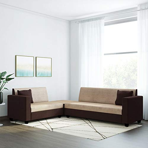 Urban Basics Barston 6 Seater Corner Fabric Sofa  Cream Brown