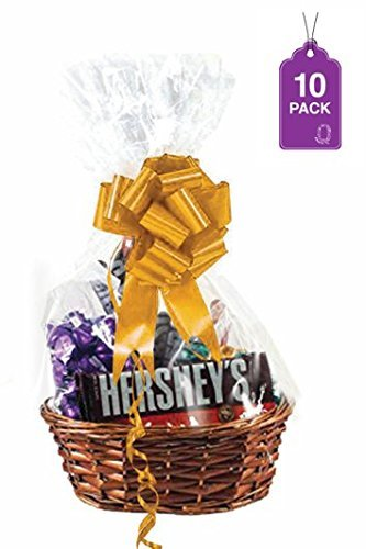 Clear Basket Bags 10 Pack, Extra Thick Medium Cellophane Wrap for Baskets and Gifts 18 x 30