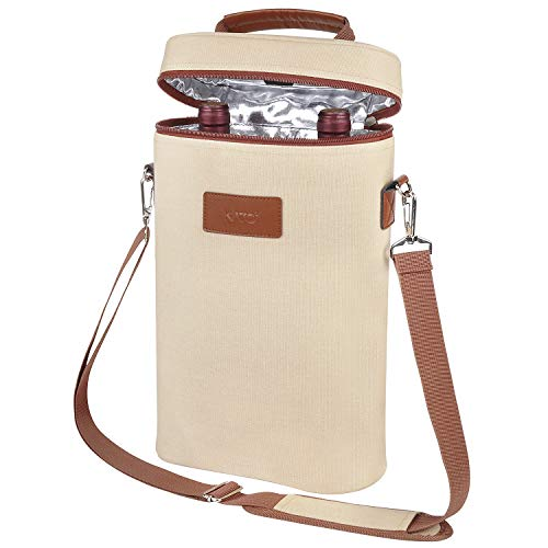 Insulated Wine Tote Carrier - 2 Bottle Travel Padded Wine Cooler Bag with Handle and Adjustable Shoulder Strap, Wine Lover Gift, Canvas ()