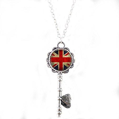 stap Union Jack British Flag - Pendant Necklace - Union Jack Jewellery - UK Flag Necklace - Great Britain Flag Pendant - Union Jack key -