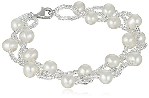 Silver and Chinese Freshwater Cultured Pearl Beaded Bracelet (Chinese Pearl Bracelet)