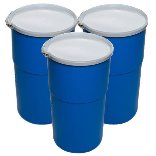 15 Gallon Open-Head UN Rated Poly Drum with Ring Lock Lid (Pack of 3) by Air Sea Containers
