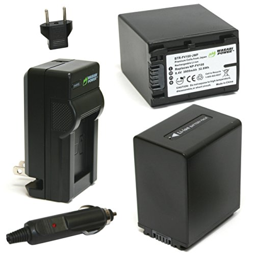 Wasabi Power Battery (2-Pack) and Charger for Sony NP-FV100 and Sony DCR-SR15, SR21, SR68, SR88, SX15, SX21, SX44, SX45, SX63, SX65, SX83, SX85, FDR-AX100, HDR-CX105, CX110, CX115, CX130, CX150, CX155, CX160, CX190, CX200, CX210, CX220, CX230, CX260V, CX290, CX300, CX305, CX330, CX350V, CX360V, CX380, CX430V, CX520V, CX550V, CX560V, CX580V, CX700V, CX760V, CX900, HC9, PJ10, PJ30V, PJ50, PJ200, PJ230, PJ260V, PJ340, PJ380, PJ430V, PJ540, PJ580V, PJ650V, PJ710V, PJ760V, PJ790V, PJ810, TD10, TD20V, TD30V, XR150, XR155, XR160, XR260V, XR350V, XR550V, HXR-NX3D1U, NX30U, NX70U, NEX-VG10, VG30, VG30H, VG900 (Sony Dcr Sx45 Battery)