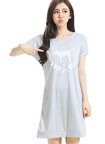 Eleganti Fasciante Girocollo Manica Sleepwear Camicie Cute Semplice Stampa Corta Abito da Donna Nuovo Oversize Fresco clothing Primavera Abiti notte Estive COCO nH56YR7q7