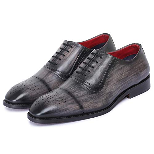 Lethato Brogue Oxford Handcrafted Men's Genuine Leather Lace up Dress Shoes with Golden Color Metal Aglets Shoelace Tips- Gray ()