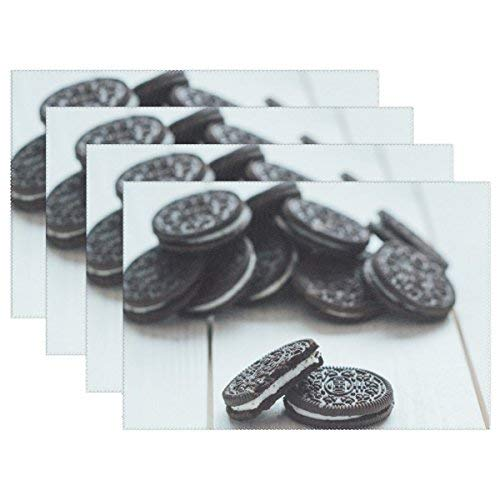 Plate Pad Oreo Cookie Dessert Heat-Resistant Table Placemats Stain Resistant Table Mats Washable Eat Mat Home Dinner Set of 4 ()