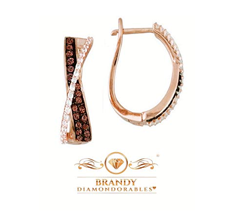 Brandy Diamondorables Chocolate Brown 18k Rose Gold Silver Beautiful Crossover Earrings 1.00 Ctw.
