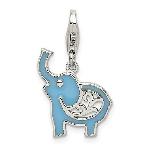 Sterling Silver Blue Enameled Elephant Charm