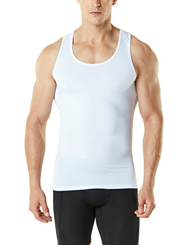 TSLA Men's Sleeveless Muscle Tank Top Cool Dry Compression Baselayer, Tank Top(mun04) - White, X-Large