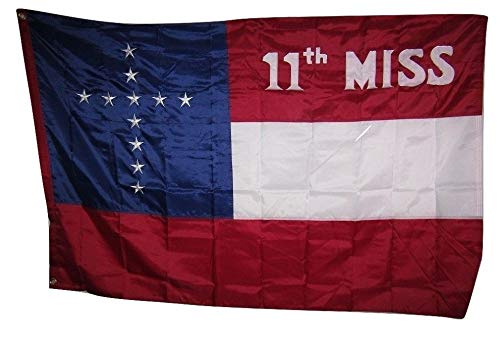ALBATROS 4ftx6ft Embroidered Sewn 11th Mississippi Battle 300D Nylon Flag 4inx6in Banner for Home and Parades, Official Party, All Weather Indoors Outdoors ()